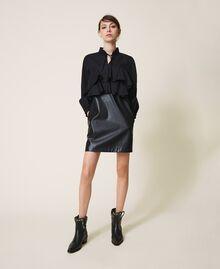 Minikleid aus Popeline und Lederimitat Schwarz Frau 202ST2052-01