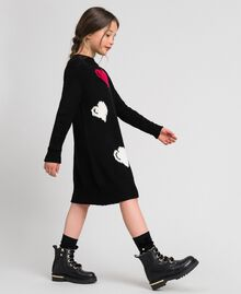 Knitted dress with inlaid hearts Black / Jacquard Child 192GJ3190-02