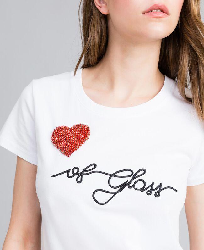 """T-Shirt aus Jersey mit Herz aus Strass """"Ice""""-Weiß Frau JA82MQ-01"""