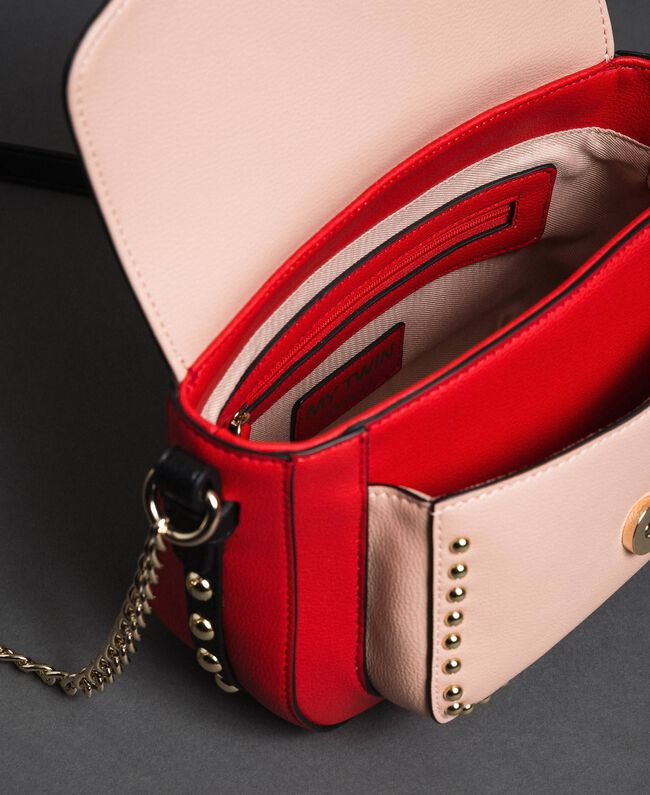 Two-tone faux leather shoulder bag with studs Poppy Red / Pale Pink Woman 192MA7103-05