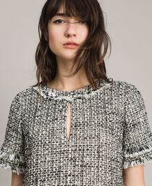 "Fringed tweed tunic dress Two-tone ""Snow"" White Bouclé / Black Woman 191TP2525-05"