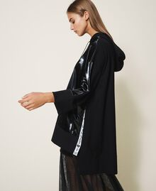 Maxi sweatshirt with patent leather inlays Black Woman 202LI2JAA-03