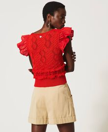 Top de punto crochet con flecos White Nieve Mujer 211TT3110-04