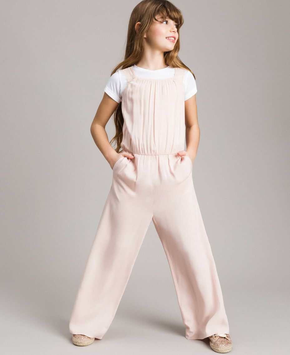 Flowing fabric and lace jumpsuit Blossom Pink Child 191GJ2431-0S