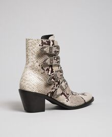 Cowboystiefelette aus Leder mit Animal-Dessin Felsenpythonprint Frau 192TCT06E-02