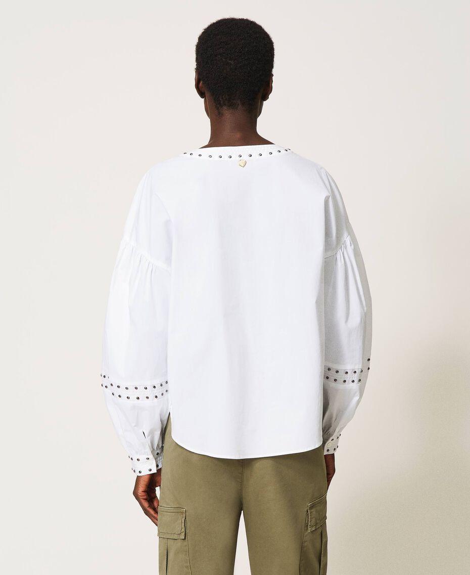 Poplin blouse with studs White Woman 211TT2482-03