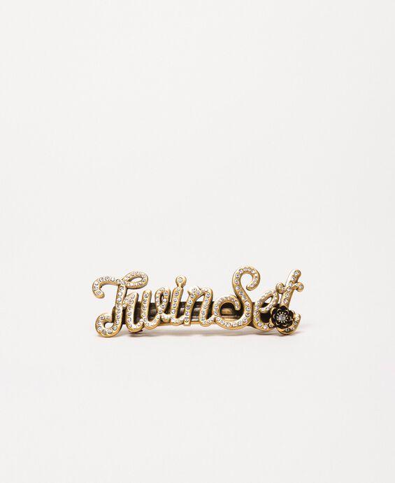 Hair clip brooch with logo