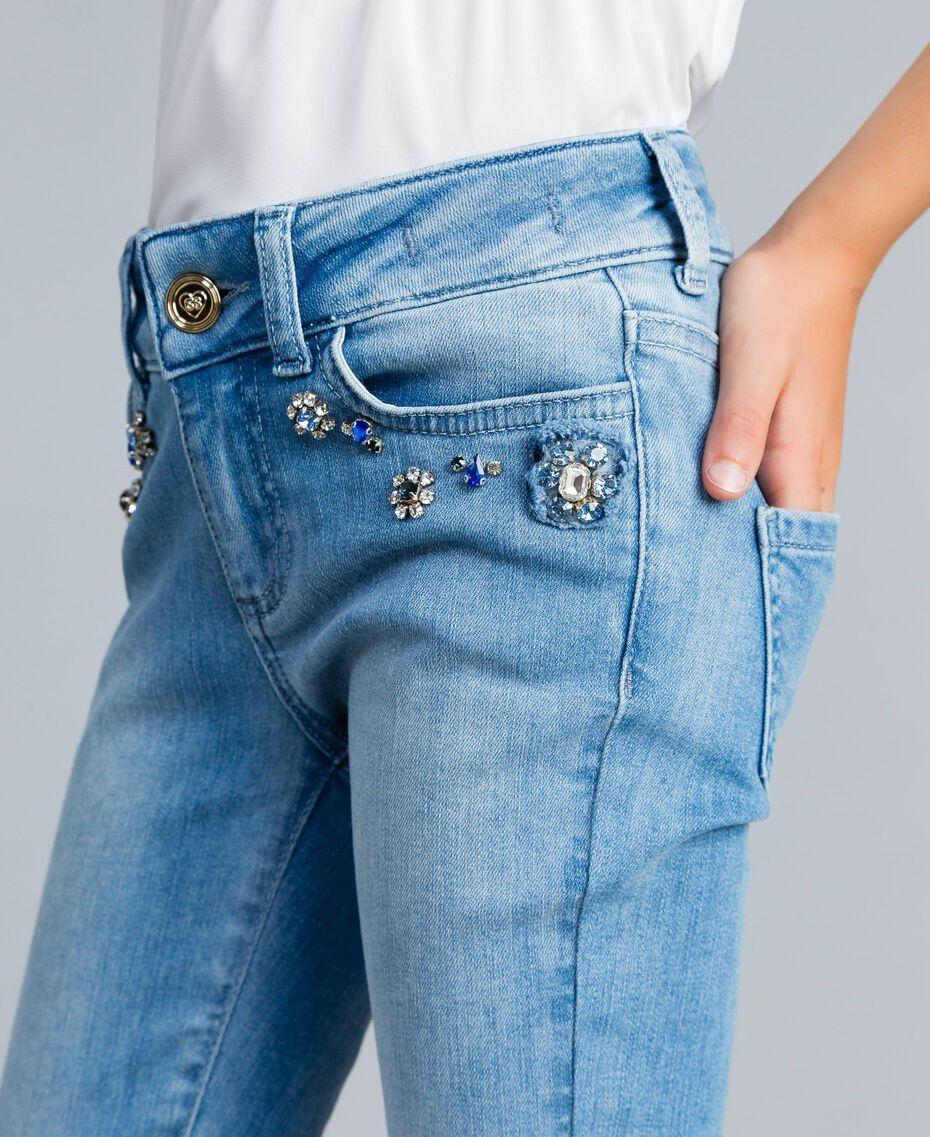 Jeans skinny con pietre e strass Denim Chiaro Bambina GA82VN-0S