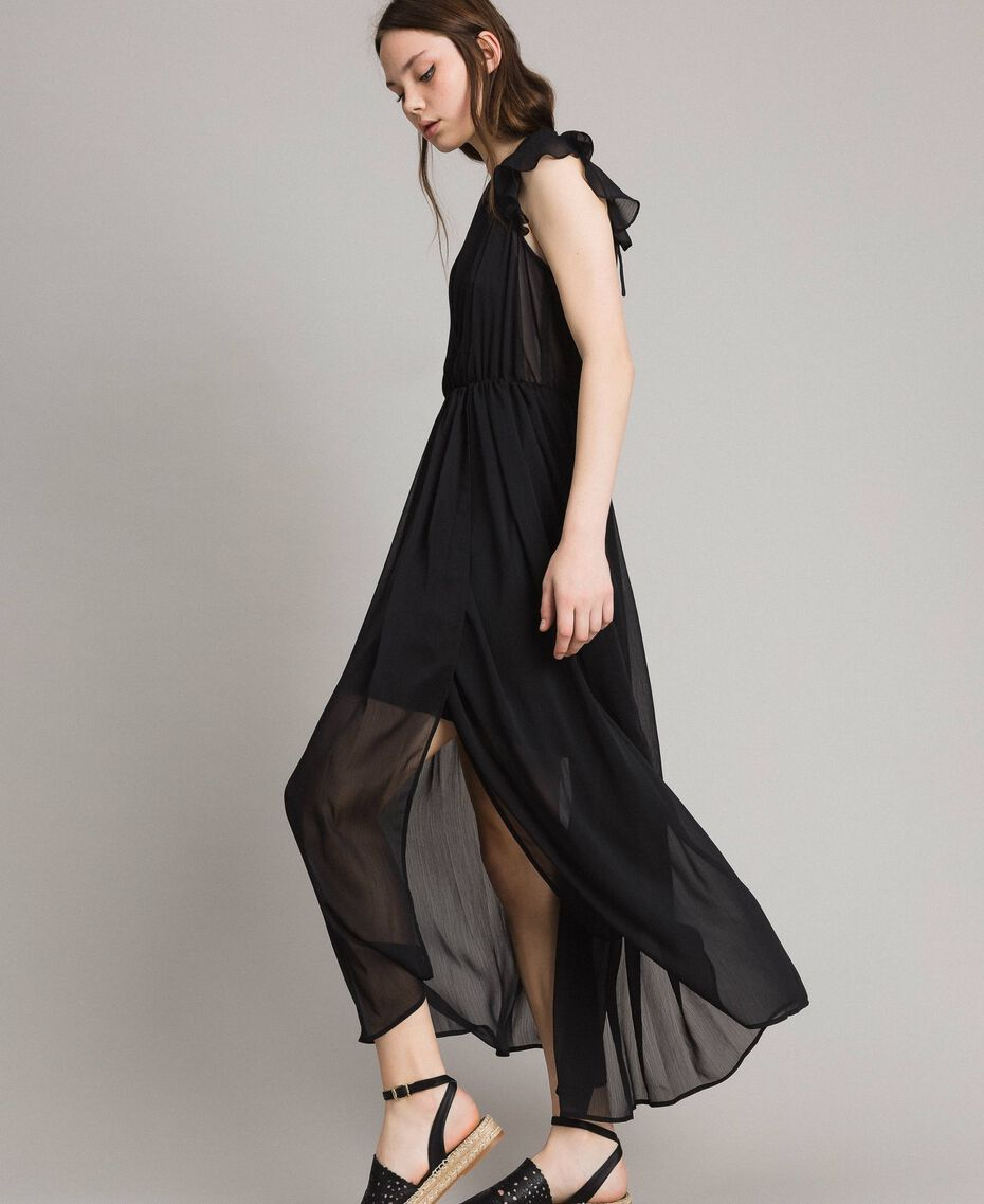Robe longue en crépon Noir Femme 191LB21HH-02