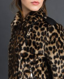 Faux fur animal print biker jacket Animal print Woman 192MP2040-04