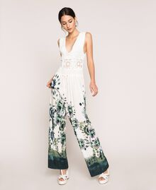 "Jumpsuit with crochet and print ""Atlantic Deep"" Blue Unevenly Dyed Print Woman 201LB3GAA-01"