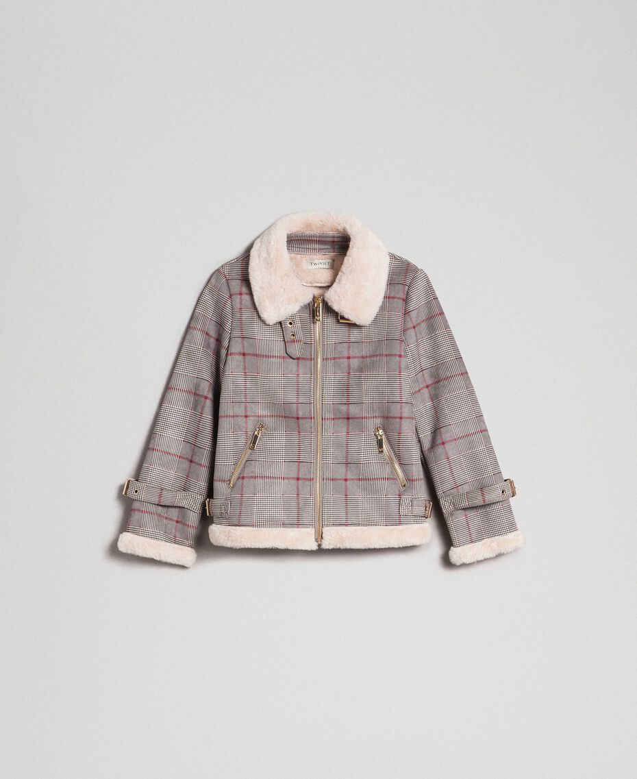 Printed faux shearling jacket Houndstooth Print Child 192GJ2300-0S