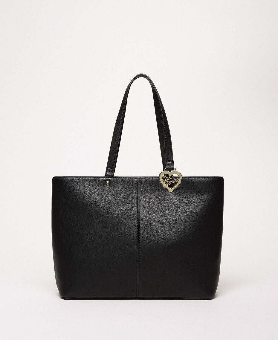 Faux leather shopper with scarf Black Woman 201MA7080-02