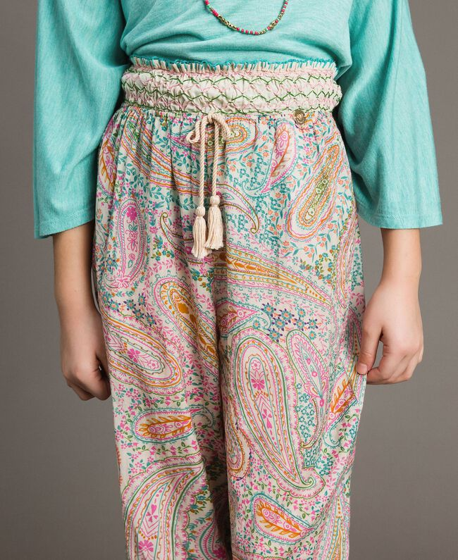 Muslin trousers with paisley print Paisley Print Child 191GJ2511-04