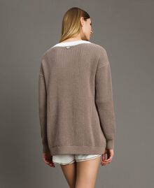 """Maxi jumper with frills Two-tone Optical White / """"Grey Dust"""" Woman 191LL37LL-03"""