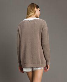 """Maxi maglia con volants Bicolore Bianco Ottico / Grigio """"Grey Dust"""" Donna 191LL37LL-03"""