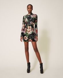 "Floral velvet sheath dress Black / ""Peach Pearl"" Floral Print Woman 202TT2361-06"