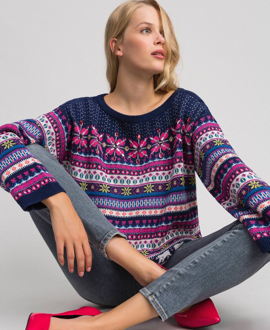 "Multicolour jacquard jumper with embroidery ""Pink Gloss"" Jacquard Woman 192MT3050-01"