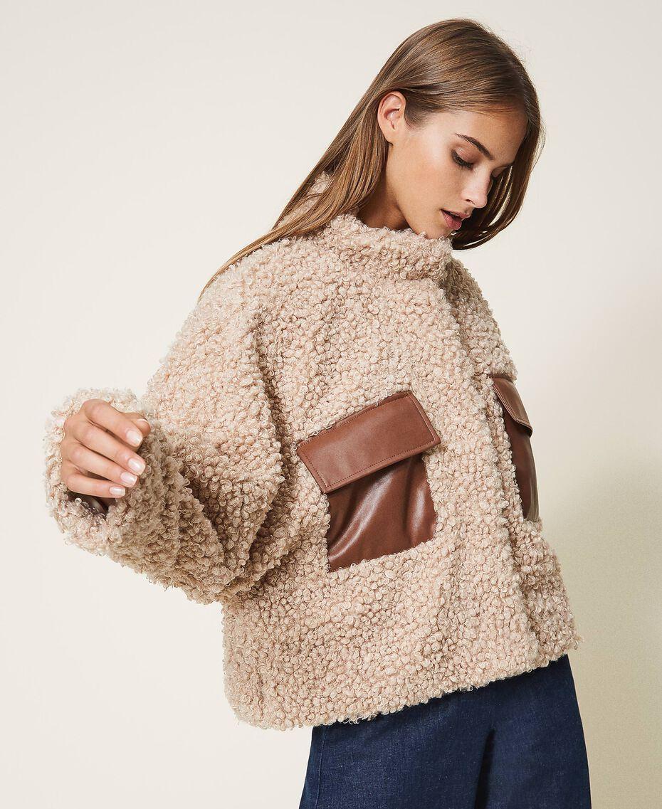 Короткое пальто из искусственной овчины Розовый Cloud Pink женщина 202LI2BAA-02