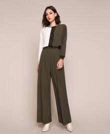 Crêpe de Chine wide trousers Elm Green Woman 201ST2016-01