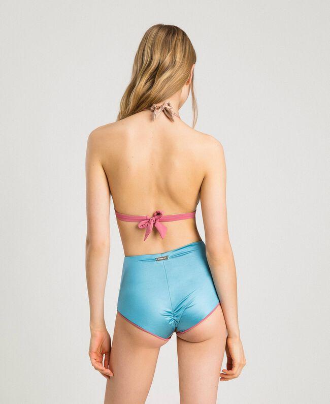 "Triangel-Bikinitop im Color-Block-Look Multicolour ""Daylight Blue"" Blau / ""Tender Rose"" Pink / ""Petra Sandstone"" Braun Frau 191LMMH22-03"