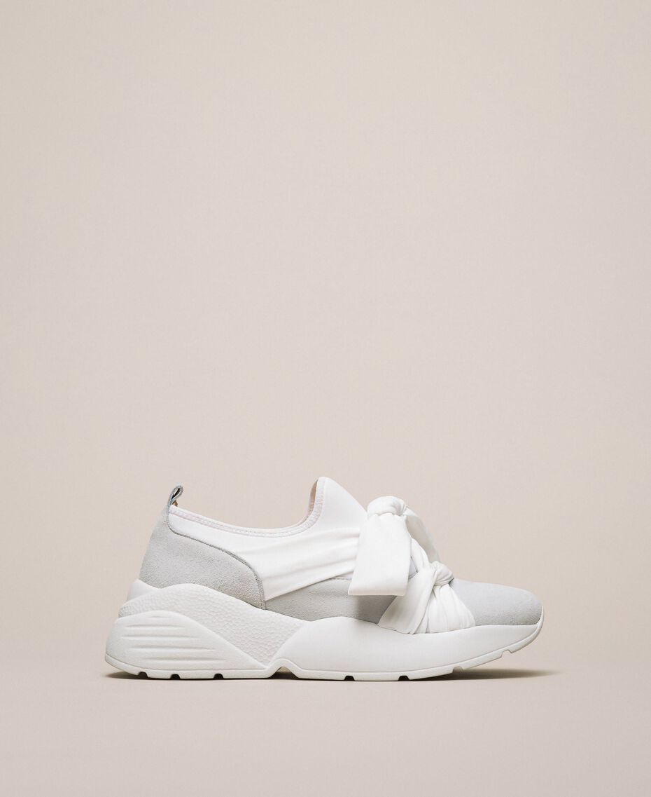 Fabric sneakers with knot White Woman 201TCT110-01