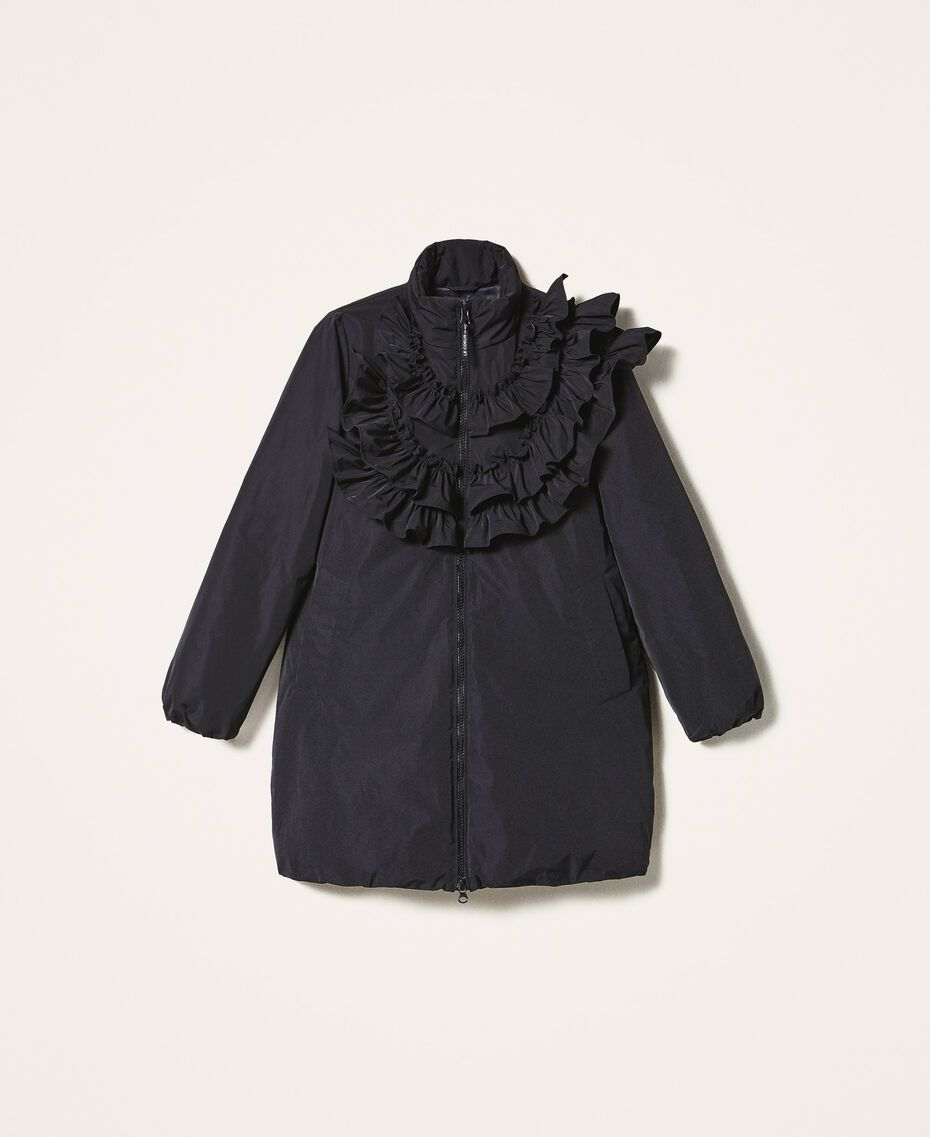 Taffeta puffer jacket with ruffles Black Woman 202ST2100-0S