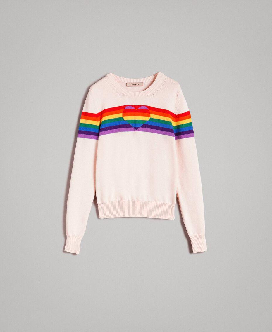 Pullover mit mehrfarbigen Streifen und Herzintarsie Blütenknospenrosa Frau 191TP3011-0S