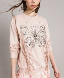 Butterfly embroidery and fringe sweatshirt Bud Pink Woman 191TP2590-04