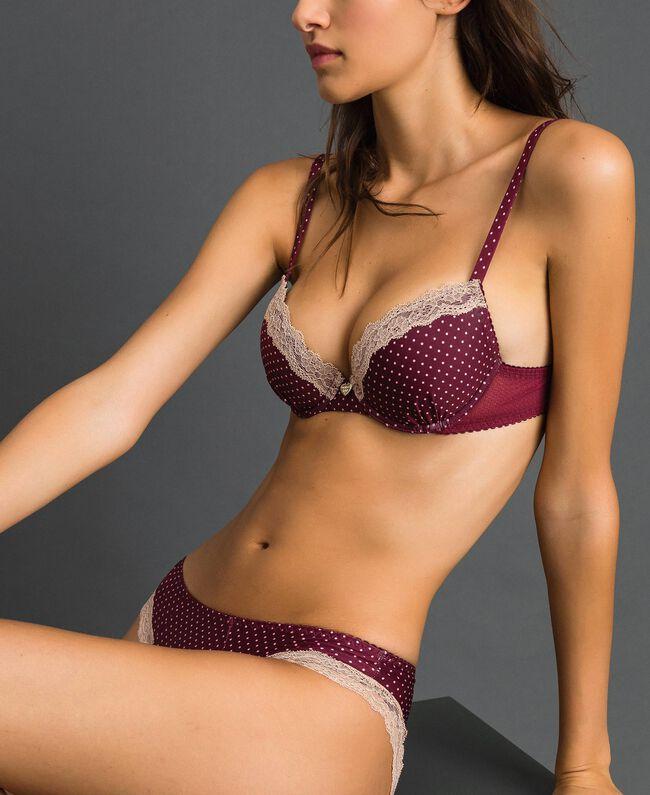 Soutien-gorge push-up à pois Imprimé Petit Pois Rouge Violet Femme 192LI6344-01