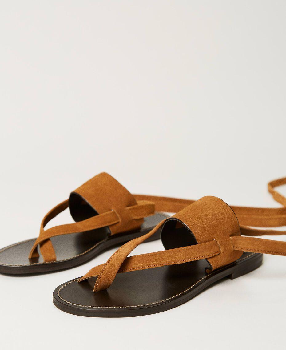 "Sandales plates en cuir Beige ""Cigare"" Femme 211TCT060-02"