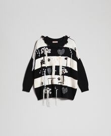 "Two-tone jumper with fringes and embroideries Bicolour ""Snow"" White / Black Woman 192TT3371-0S"