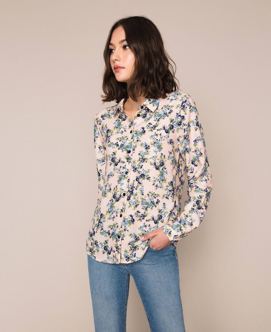 "Floral crêpe de Chine shirt ""Quartz"" Pink Flowered Print Woman 201MP2375-02"