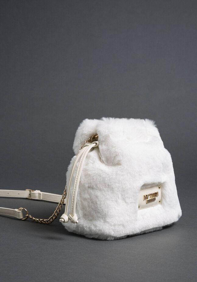 Faux fur bucket bag with drawstring