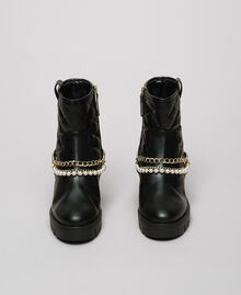 Biker boots with straps, chain and pearls Black Woman 192MCP050-05