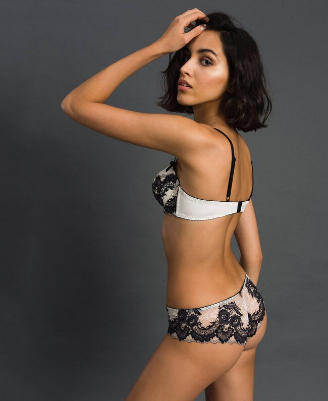Two-tone lace Brazilian briefs Ivory / Black Woman 192LL6D77-01