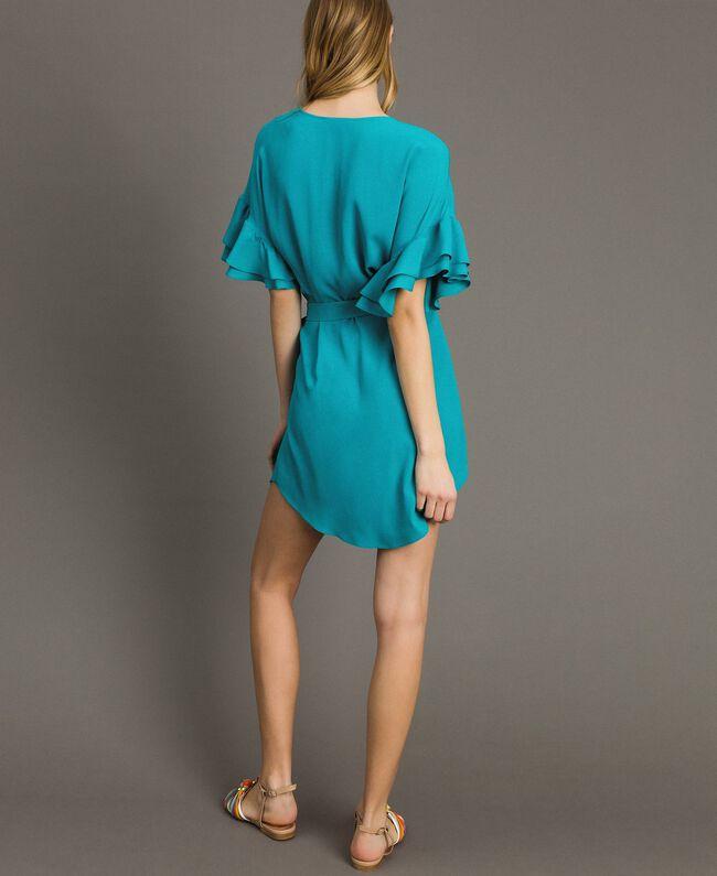 Kleid mit Volants aus Seidenmischung Keramikblau Frau 191TT2074-04