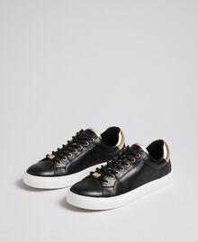 Sneakers aus Leder mit Kontrastdetail Schwarz Frau 192TCP06E-01