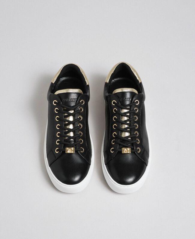 Sneakers aus Leder mit Kontrastdetail Schwarz Frau 192TCP06E-05