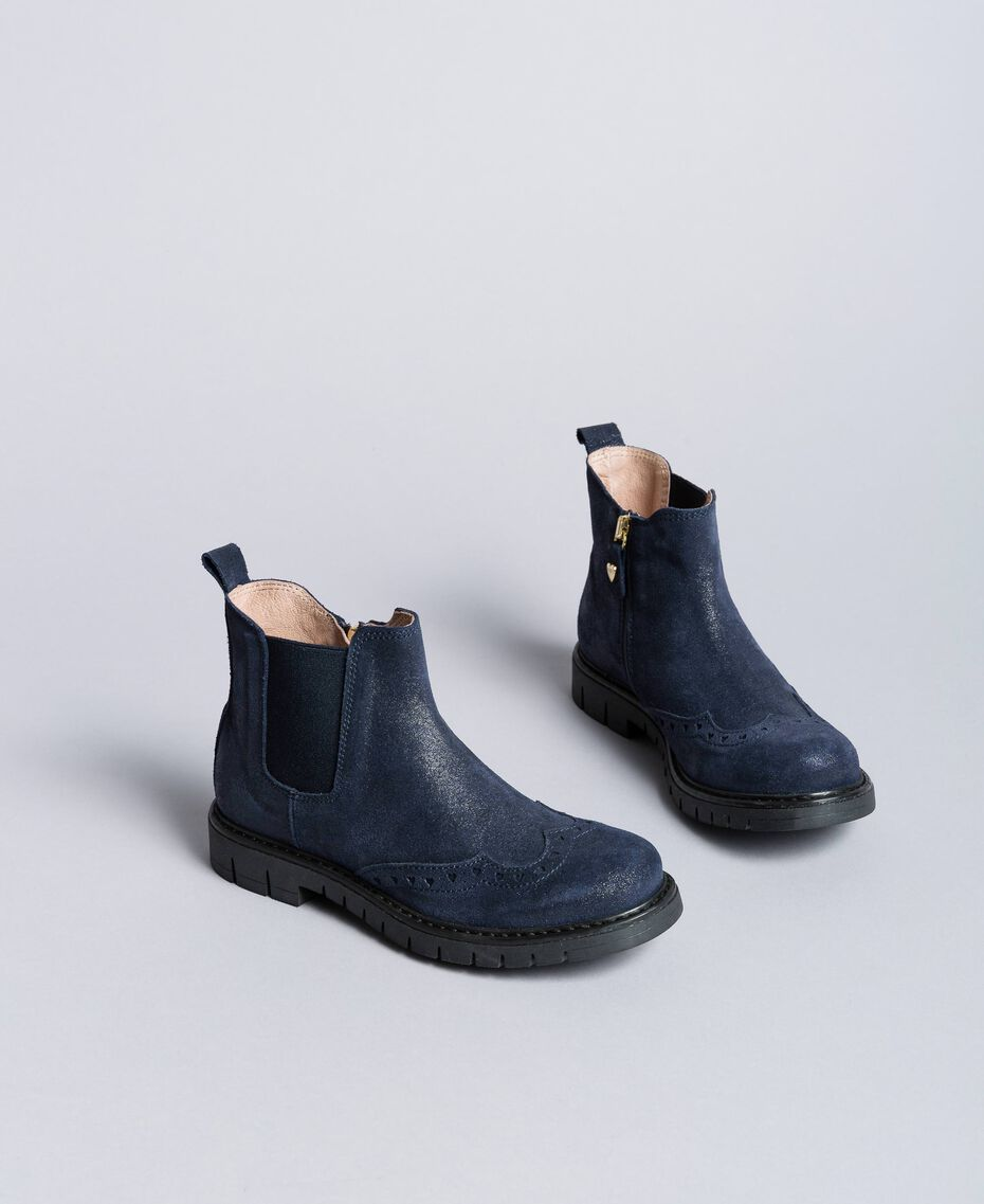 Bottines Beatles en cuir glacé Bleu Blackout Enfant HA88EA-01