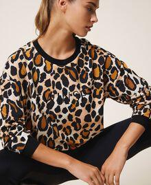 Sweatshirt mit Animalprint Animalier-Print Frau 202LL2ESS-04