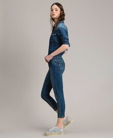 Jeans skinny con strass dégradé Denim Blue Donna 191MP2421-03