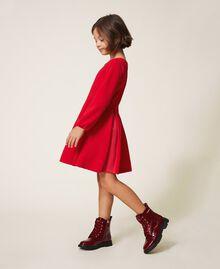 Robe avec plis et satin Rouge Cerise Enfant 202GJ2153-02