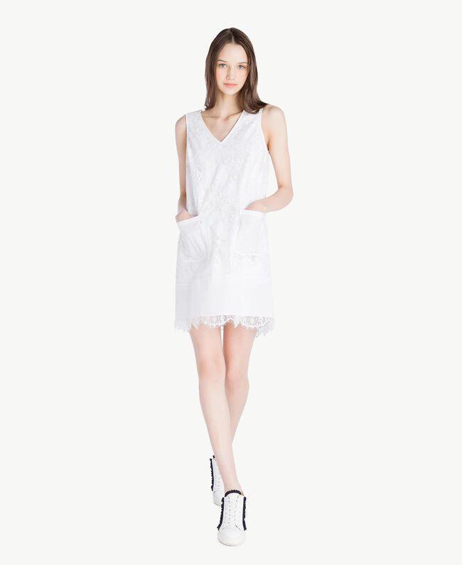 Kleid mit Spitze Weiß Frau SS82J4-01