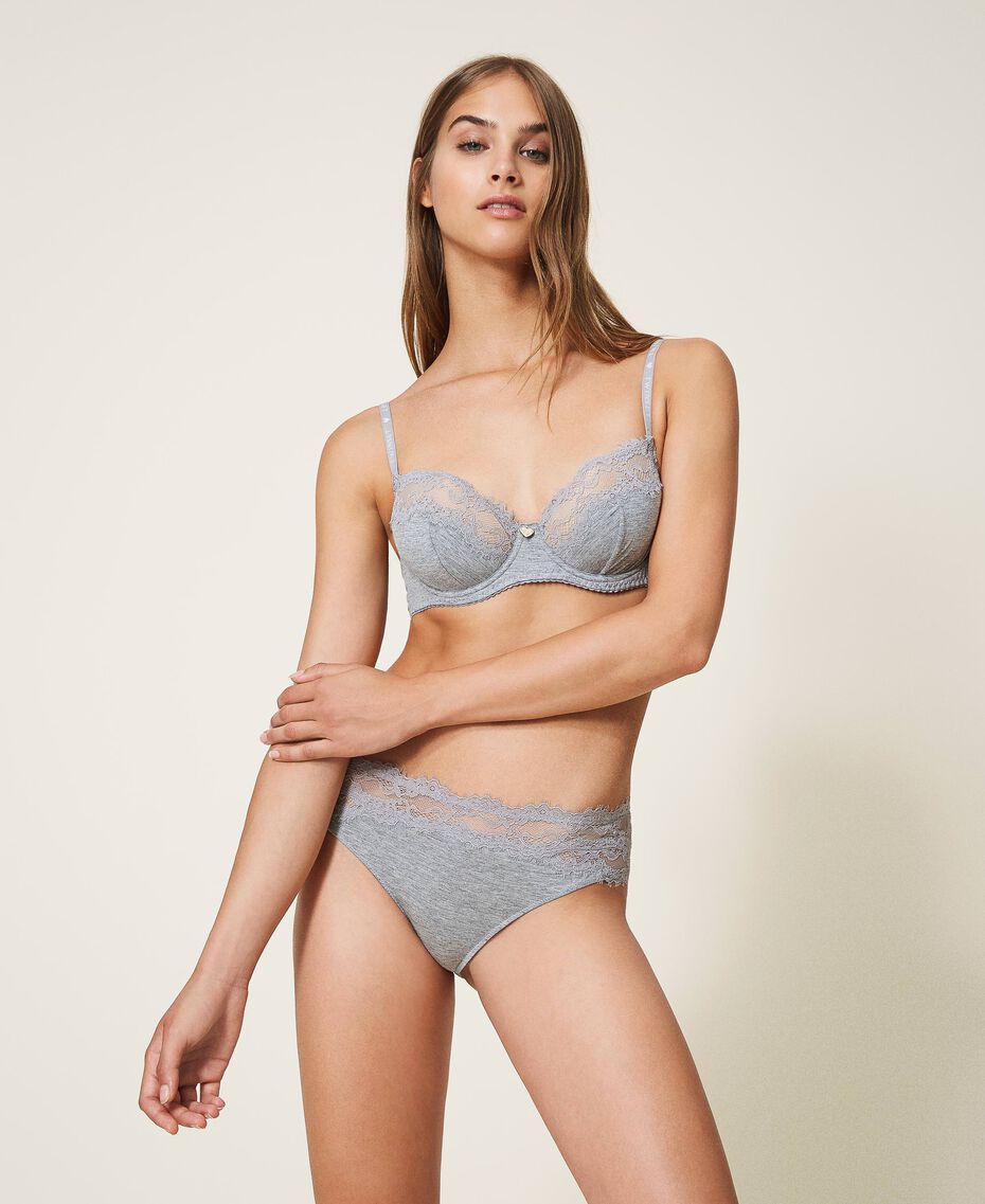 Underwired lace bra Melange Grey Woman 202LL6D55-02