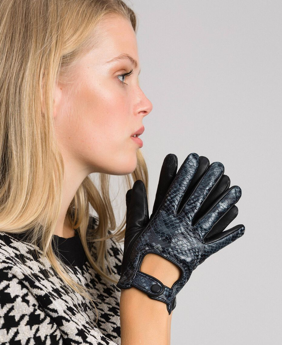 "Leather touch screen gloves with buttons ""Anthracite"" Grey Python Print Woman 192TO536C-0S"