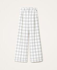 """Wool blend wide leg trousers Two-tone """"Snow"""" White / Black Woman 202TP254D-0S"""