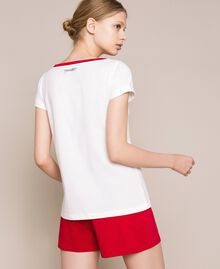 """Printed short pyjamas Two-tone Ivory / """"Pomegranate"""" Red Woman 201LL23EE-03"""