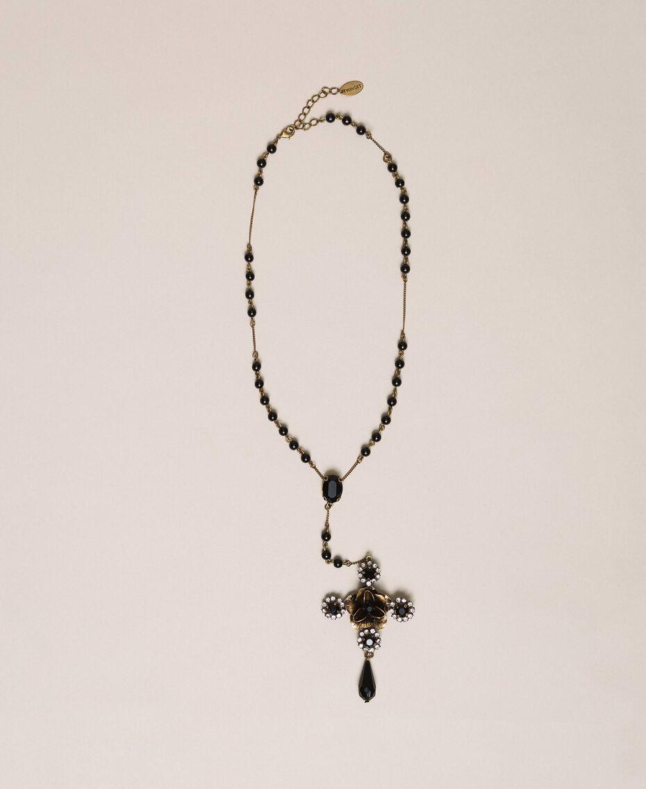 Ожерелье-четки с крестом и подвеской Черный женщина 201TA4309-01