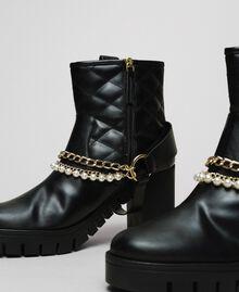 Байкерские ботинки с ремешками, цепочками и жемчугом Черный женщина 192MCP050-02
